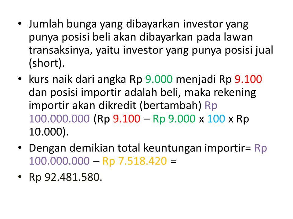 Jumlah bunga yang dibayarkan investor yang punya posisi beli akan dibayarkan pada lawan transaksinya, yaitu investor yang punya posisi jual (short). k