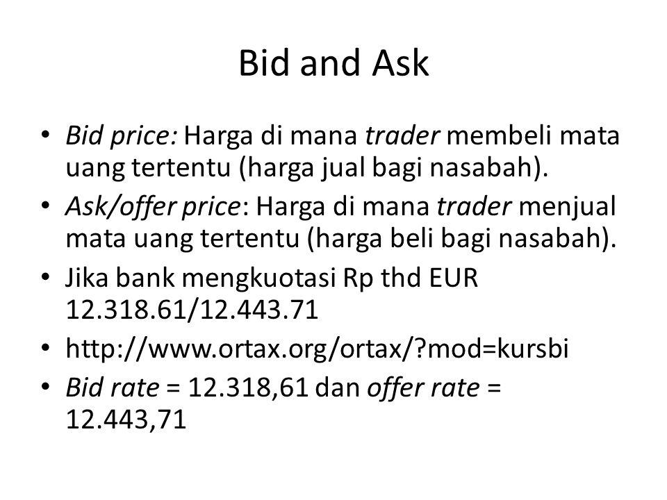Bid and Ask Bid price: Harga di mana trader membeli mata uang tertentu (harga jual bagi nasabah). Ask/offer price: Harga di mana trader menjual mata u