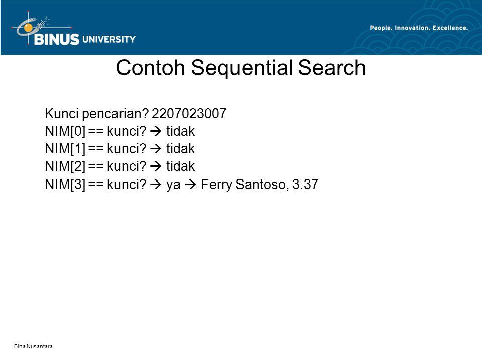 Bina Nusantara Contoh Sequential Search Kunci pencarian? 2207023007 NIM[0] == kunci?  tidak NIM[1] == kunci?  tidak NIM[2] == kunci?  tidak NIM[3]