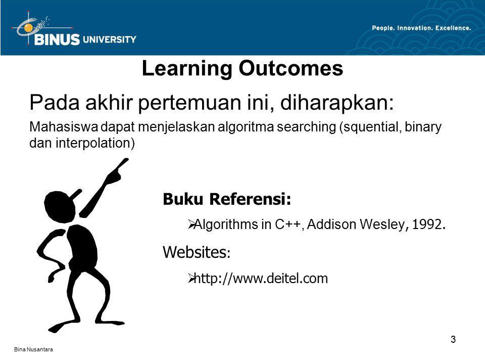 Bina Nusantara Learning Outcomes Pada akhir pertemuan ini, diharapkan: Mahasiswa dapat menjelaskan algoritma searching (squential, binary dan interpolation) Buku Referensi:  Algorithms in C++, Addison Wesley, 1992.