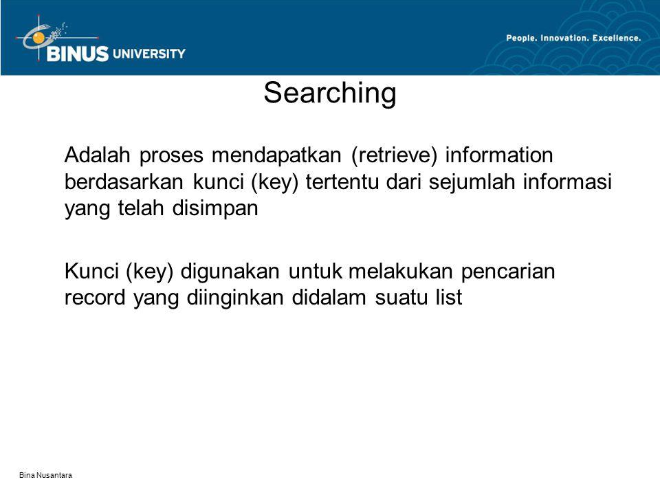 Bina Nusantara Searching Adalah proses mendapatkan (retrieve) information berdasarkan kunci (key) tertentu dari sejumlah informasi yang telah disimpan Kunci (key) digunakan untuk melakukan pencarian record yang diinginkan didalam suatu list