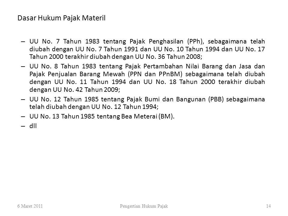 Dasar Hukum Pajak Materil 6 Maret 2011Pengertian Hukum Pajak14 – UU No. 7 Tahun 1983 tentang Pajak Penghasilan (PPh), sebagaimana telah diubah dengan