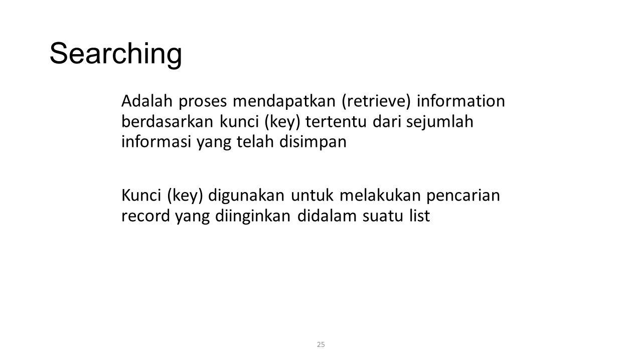 25 Searching Adalah proses mendapatkan (retrieve) information berdasarkan kunci (key) tertentu dari sejumlah informasi yang telah disimpan Kunci (key)