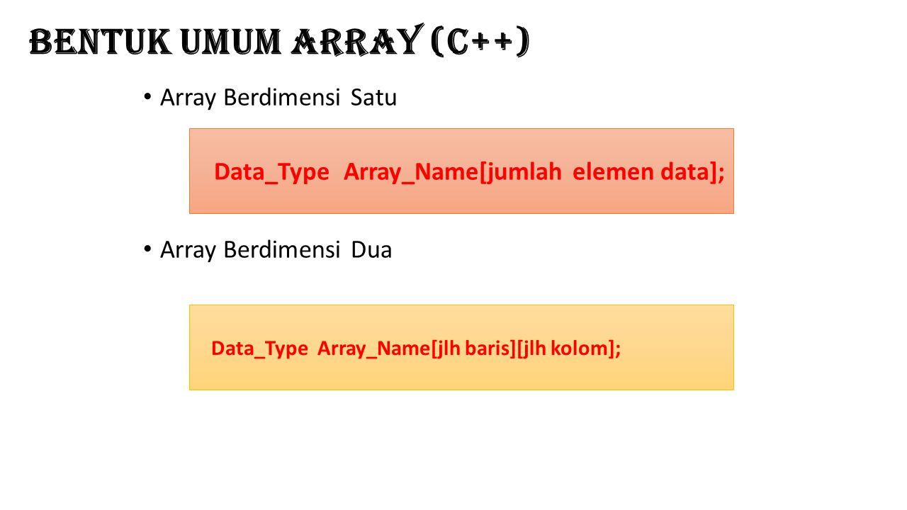 Bentuk Umum Array (C++) Array Berdimensi Satu Array Berdimensi Dua Data_Type Array_Name[jumlah elemen data]; Data_Type Array_Name[jlh baris][jlh kolom