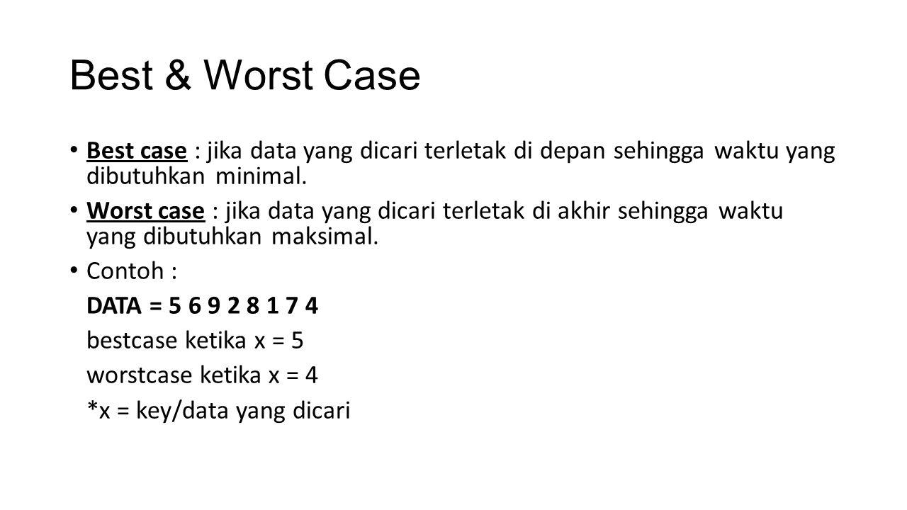 Best & Worst Case Best case : jika data yang dicari terletak di depan sehingga waktu yang dibutuhkan minimal. Worst case : jika data yang dicari terle
