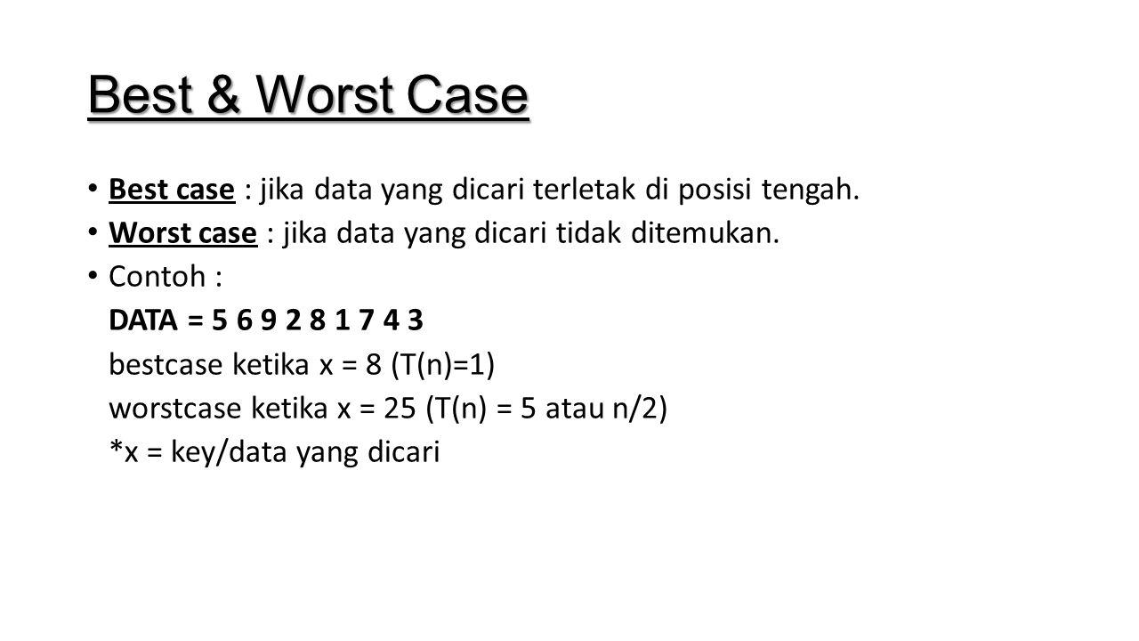 Best & Worst Case Best case : jika data yang dicari terletak di posisi tengah. Worst case : jika data yang dicari tidak ditemukan. Contoh : DATA = 5 6