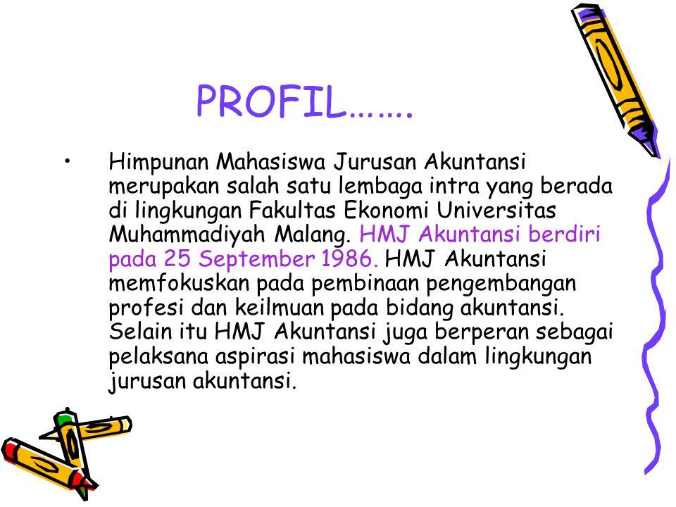 PROFIL……. Himpunan Mahasiswa Jurusan Akuntansi merupakan salah satu lembaga intra yang berada di lingkungan Fakultas Ekonomi Universitas Muhammadiyah