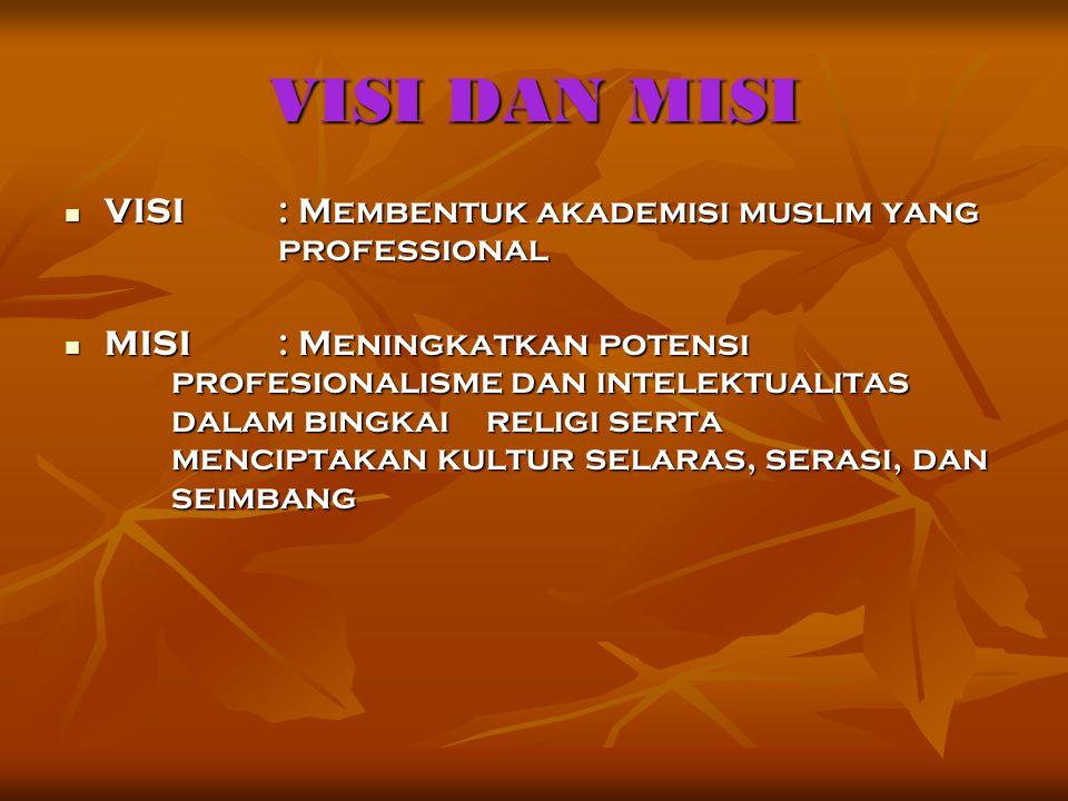 VISI DAN MISI VISI: Membentuk akademisi muslim yang professional MISI: Meningkatkan potensi profesionalisme dan intelektualitas dalam bingkai religi s