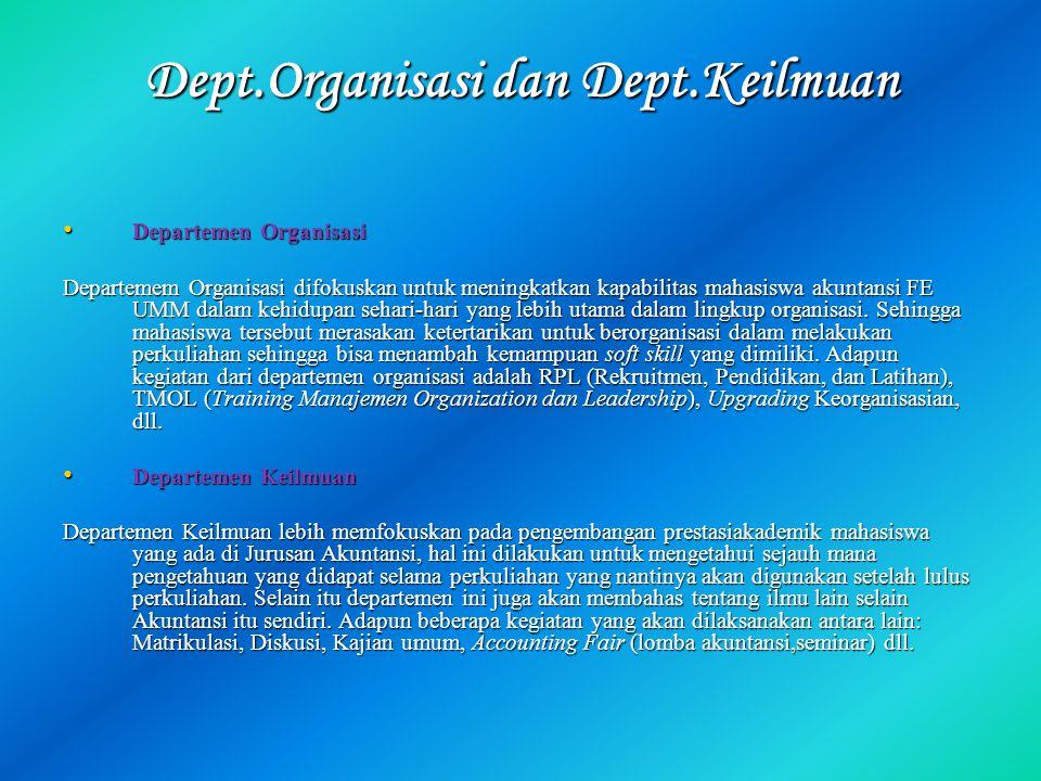 Dept.Organisasi dan Dept.Keilmuan Departemen Organisasi Departemen Organisasi Departemem Organisasi difokuskan untuk meningkatkan kapabilitas mahasisw