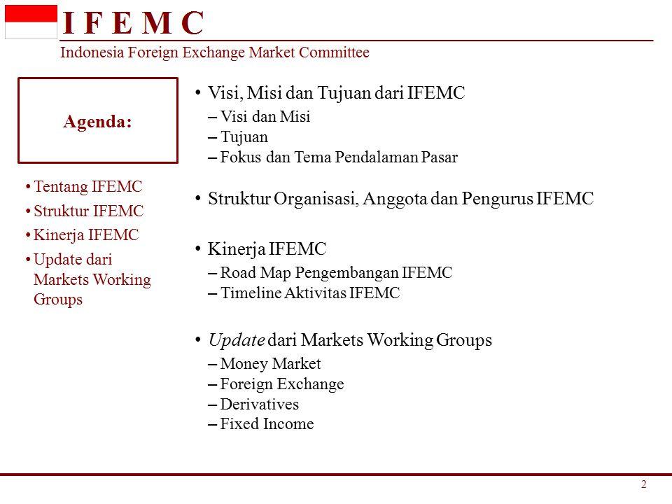 Agenda: Visi, Misi dan Tujuan dari IFEMC – Visi dan Misi – Tujuan – Fokus dan Tema Pendalaman Pasar Struktur Organisasi, Anggota dan Pengurus IFEMC Kinerja IFEMC – Road Map Pengembangan IFEMC – Timeline Aktivitas IFEMC Update dari Markets Working Groups – Money Market – Foreign Exchange – Derivatives – Fixed Income Tentang IFEMC Struktur IFEMC Kinerja IFEMC Update dari Markets Working Groups 2