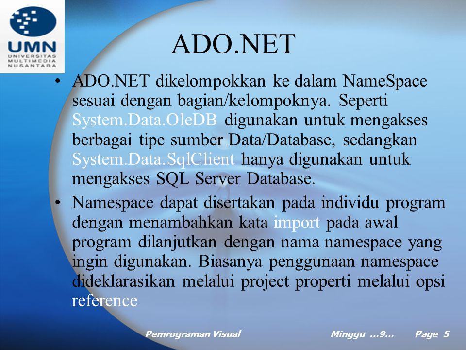 Pemrograman VisualMinggu …9… Page 5 ADO.NET ADO.NET dikelompokkan ke dalam NameSpace sesuai dengan bagian/kelompoknya.