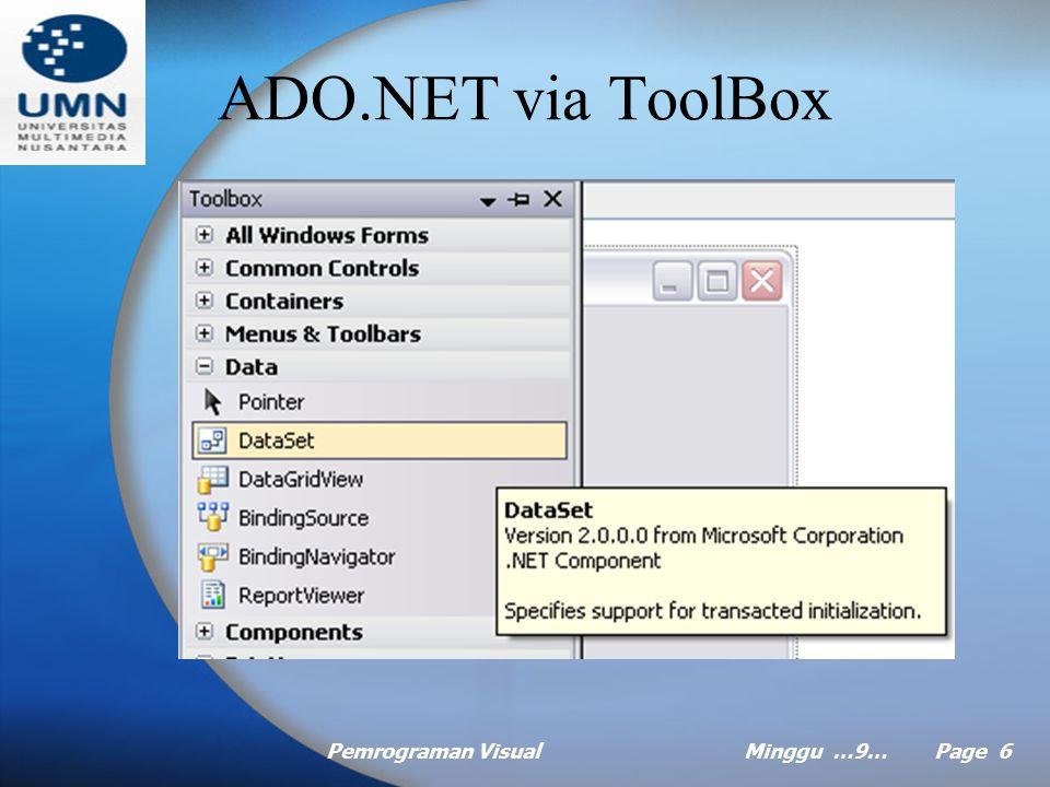 Pemrograman VisualMinggu …9… Page 6 ADO.NET via ToolBox