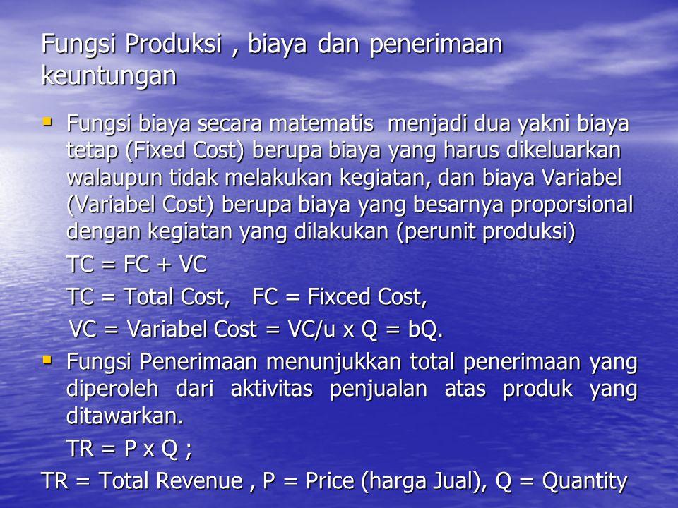 Fungsi Produksi, biaya dan penerimaan keuntungan  Fungsi biaya secara matematis menjadi dua yakni biaya tetap (Fixed Cost) berupa biaya yang harus di