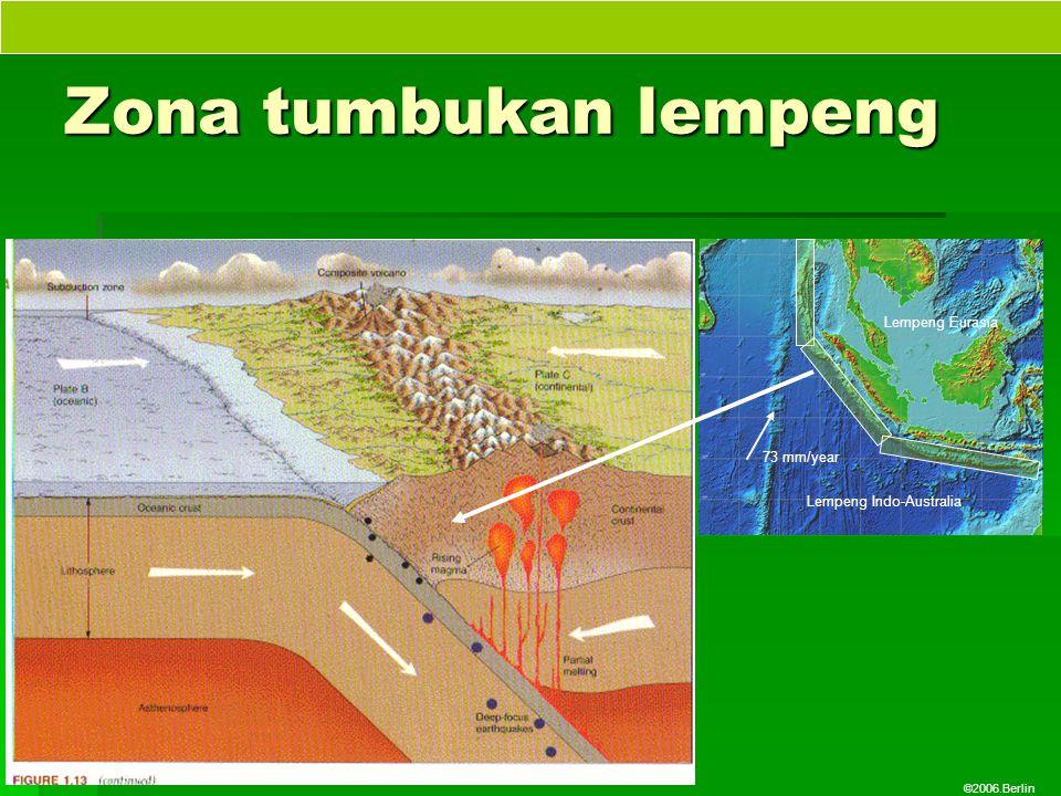 ©2006.Berlin Zona tumbukan lempeng Lempeng Indo-Australia Lempeng Eurasia 73 mm/year