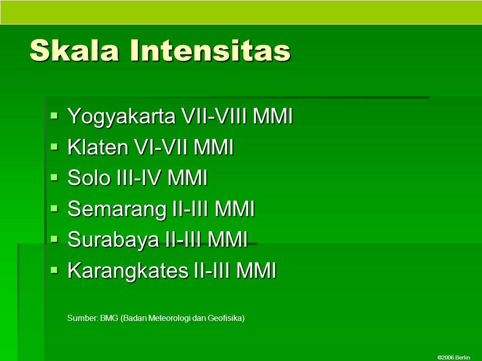©2006.Berlin Skala Intensitas  Yogyakarta VII-VIII MMI  Klaten VI-VII MMI  Solo III-IV MMI  Semarang II-III MMI  Surabaya II-III MMI  Karangkate