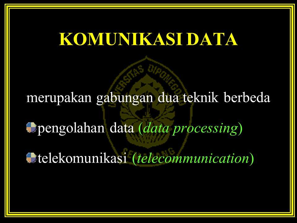 KOMUNIKASI DATA merupakan gabungan dua teknik berbeda pengolahan data (data processing) telekomunikasi (telecommunication)
