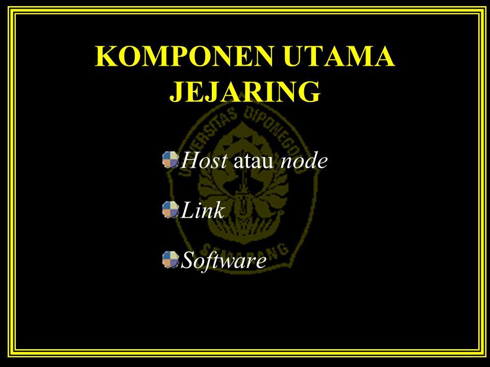 KOMPONEN UTAMA JEJARING Host atau node Link Software