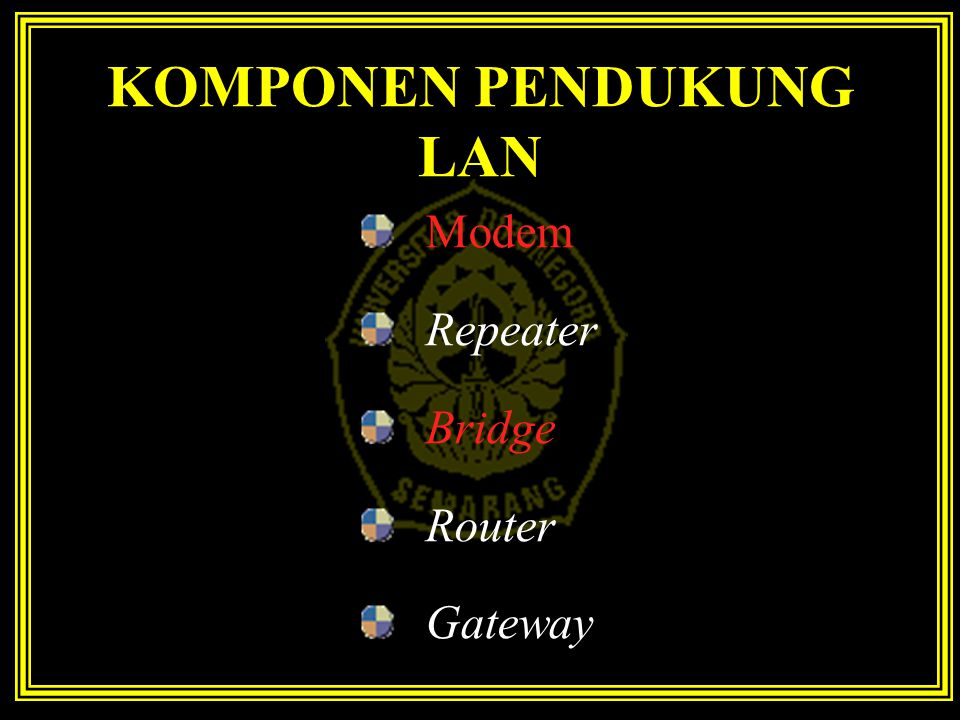 KOMPONEN PENDUKUNG LAN Modem Repeater Bridge Router Gateway