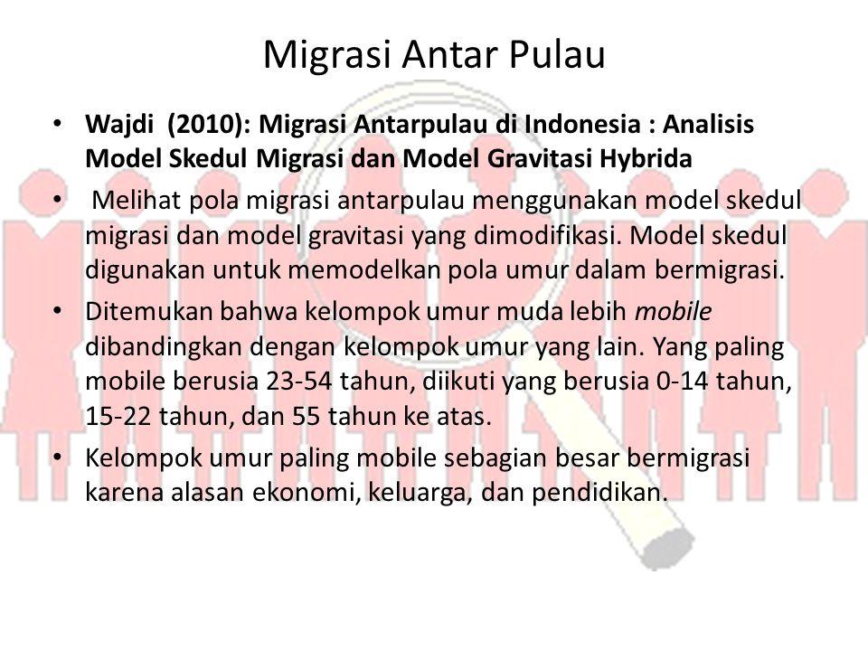 Migrasi Antar Pulau Wajdi (2010): Migrasi Antarpulau di Indonesia : Analisis Model Skedul Migrasi dan Model Gravitasi Hybrida Melihat pola migrasi antarpulau menggunakan model skedul migrasi dan model gravitasi yang dimodifikasi.