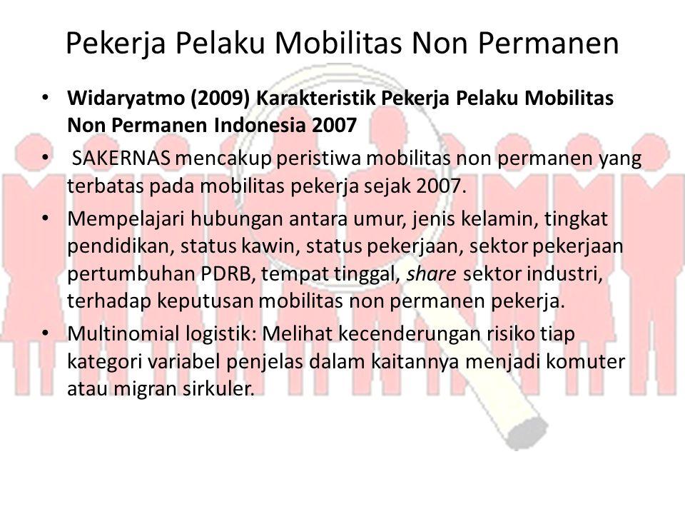 Pekerja Pelaku Mobilitas Non Permanen Widaryatmo (2009) Karakteristik Pekerja Pelaku Mobilitas Non Permanen Indonesia 2007 SAKERNAS mencakup peristiwa