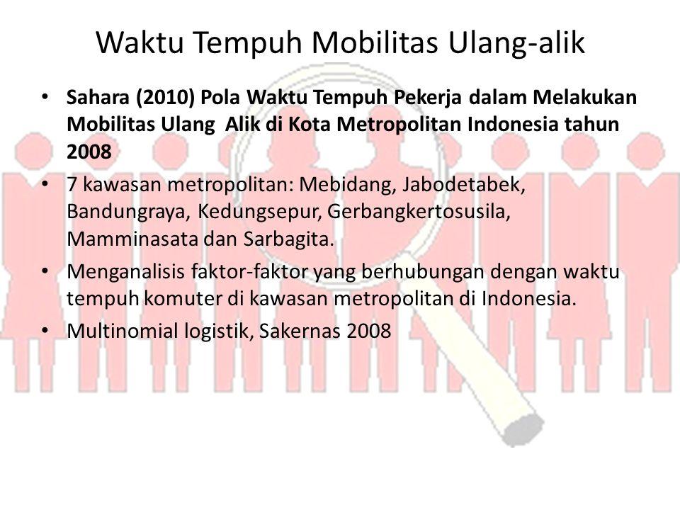 Waktu Tempuh Mobilitas Ulang-alik Sahara (2010) Pola Waktu Tempuh Pekerja dalam Melakukan Mobilitas Ulang Alik di Kota Metropolitan Indonesia tahun 2008 7 kawasan metropolitan: Mebidang, Jabodetabek, Bandungraya, Kedungsepur, Gerbangkertosusila, Mamminasata dan Sarbagita.