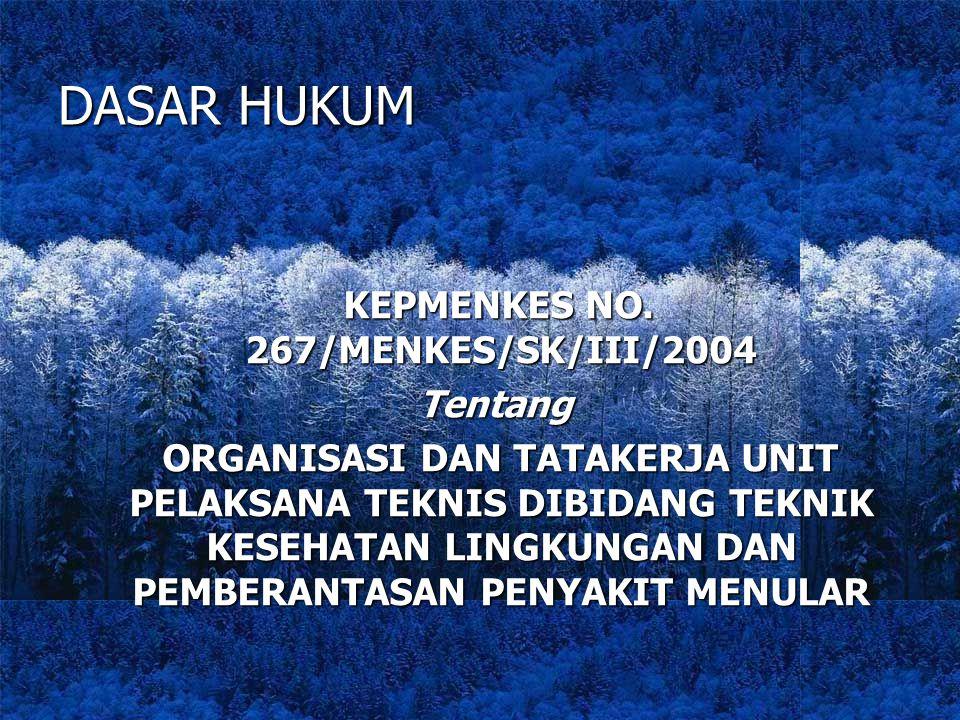 DASAR HUKUM KEPMENKES NO. 267/MENKES/SK/III/2004 KEPMENKES NO. 267/MENKES/SK/III/2004 Tentang Tentang ORGANISASI DAN TATAKERJA UNIT PELAKSANA TEKNIS D