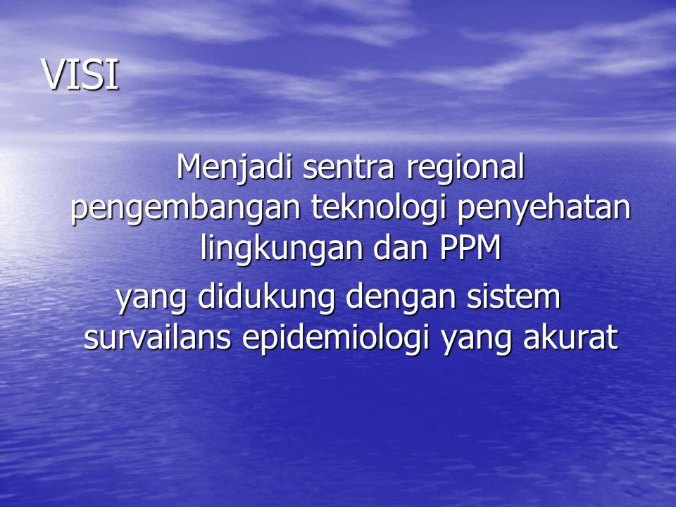 VISI Menjadi sentra regional pengembangan teknologi penyehatan lingkungan dan PPM yang didukung dengan sistem survailans epidemiologi yang akurat