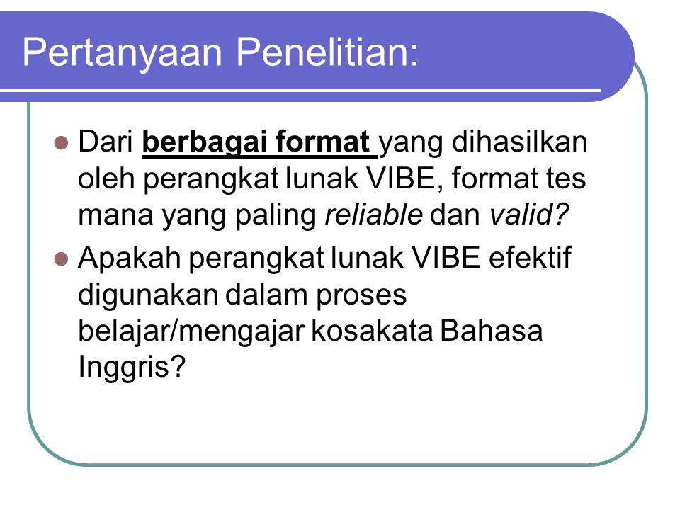 Keutamaan Penelitian Menghasilkan perangkat lunak VIBE yang dapat digunakan tidak hanya untuk tes kosakata, tetapi juga dapat digunakan untuk belajar kosakata Bahasa Inggris yang sering dipakai yang sangat diperlukan oleh siswa/i Indonesia.
