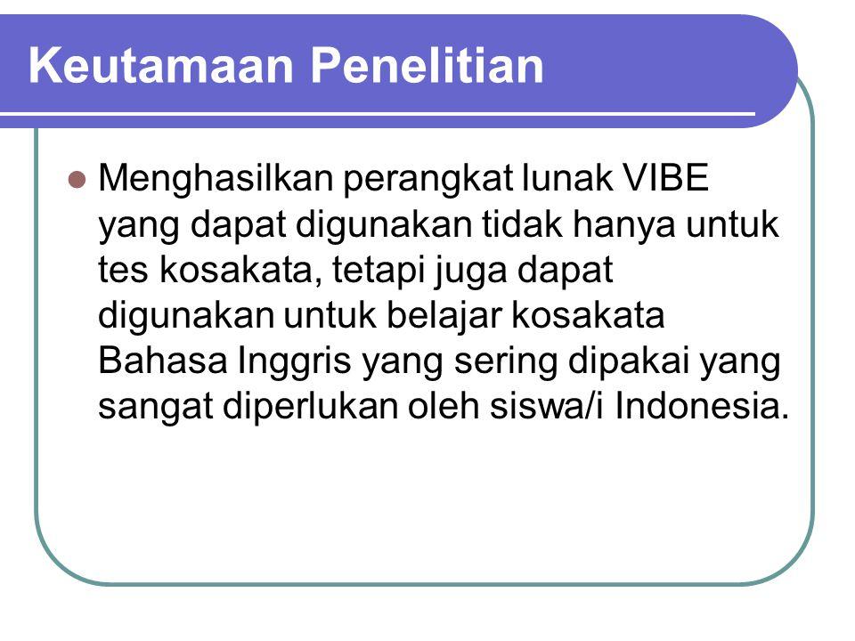 Rencana Kegiatan: Tahun 1: Pembuatan data bank soal sekitar 5000 kata dengan artinya dalam Bahasa Indonesia dan Inggris berserta contoh kalimatnya.