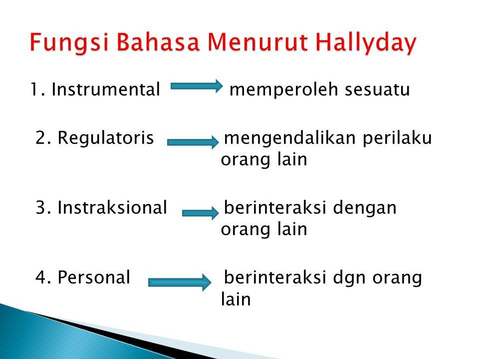 1.Instrumental memperoleh sesuatu 2. Regulatoris mengendalikan perilaku orang lain 3.