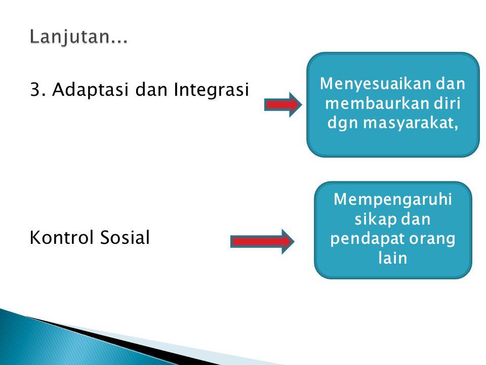 3. Adaptasi dan Integrasi Kontrol Sosial Menyesuaikan dan membaurkan diri dgn masyarakat, Mempengaruhi sikap dan pendapat orang lain