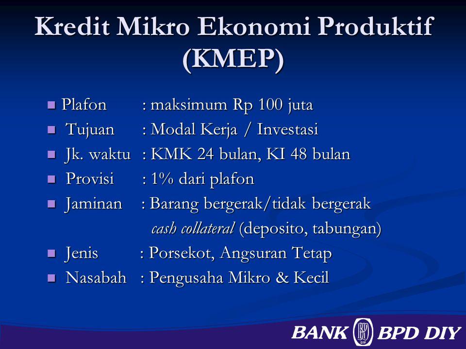 Kredit Mikro Ekonomi Produktif (KMEP) Plafon: maksimum Rp 100 juta Plafon: maksimum Rp 100 juta Tujuan: Modal Kerja / Investasi Tujuan: Modal Kerja /