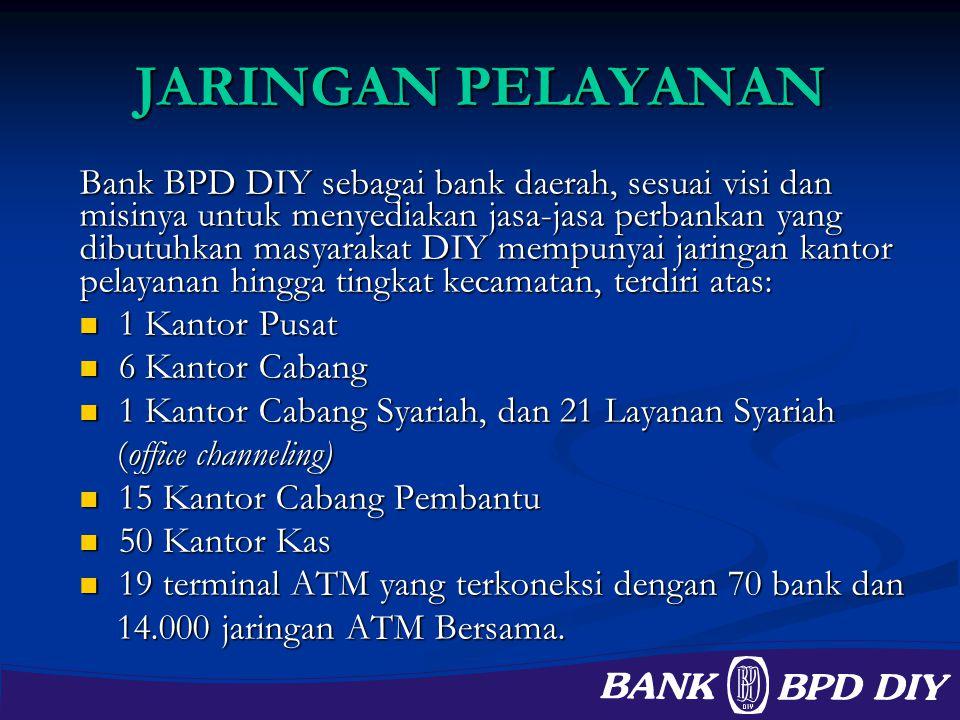 JARINGAN PELAYANAN Bank BPD DIY sebagai bank daerah, sesuai visi dan misinya untuk menyediakan jasa-jasa perbankan yang dibutuhkan masyarakat DIY memp