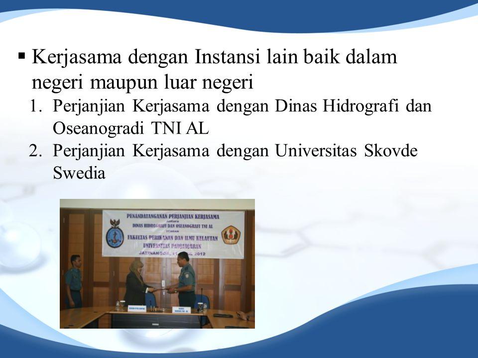  Kerjasama dengan Instansi lain baik dalam negeri maupun luar negeri 1.Perjanjian Kerjasama dengan Dinas Hidrografi dan Oseanogradi TNI AL 2.Perjanji