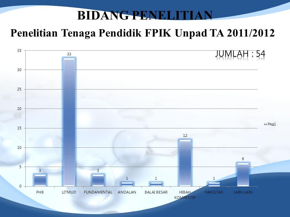 BIDANG PENELITIAN Penelitian Tenaga Pendidik FPIK Unpad TA 2011/2012