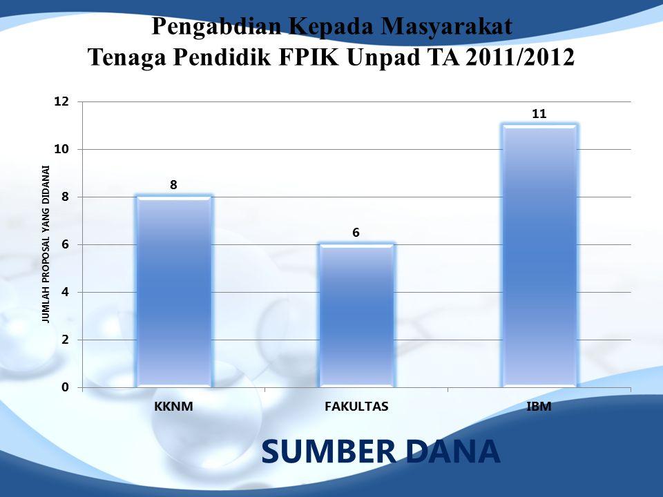 Pengabdian Kepada Masyarakat Tenaga Pendidik FPIK Unpad TA 2011/2012 SUMBER DANA