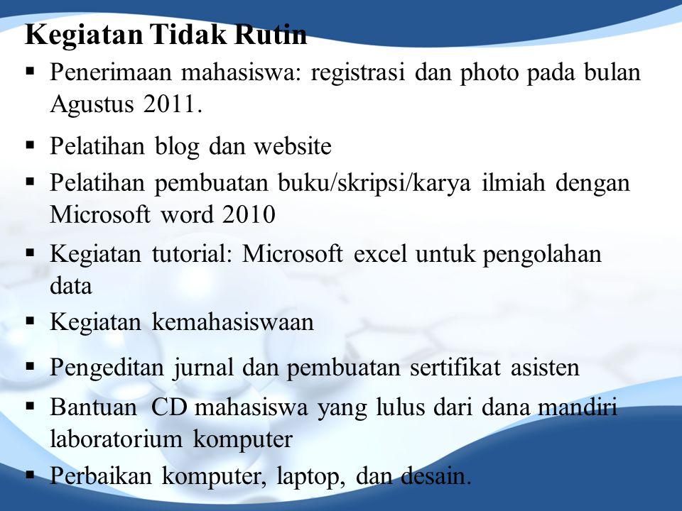 Kegiatan Tidak Rutin  Penerimaan mahasiswa: registrasi dan photo pada bulan Agustus 2011.  Pelatihan blog dan website  Pelatihan pembuatan buku/skr