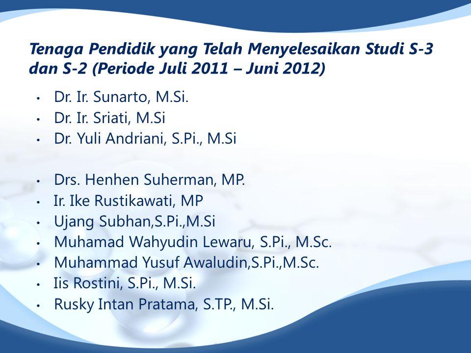 Tenaga Pendidik yang Telah Menyelesaikan Studi S-3 dan S-2 (Periode Juli 2011 – Juni 2012) Dr. Ir. Sunarto, M.Si. Dr. Ir. Sriati, M.Si Dr. Yuli Andria