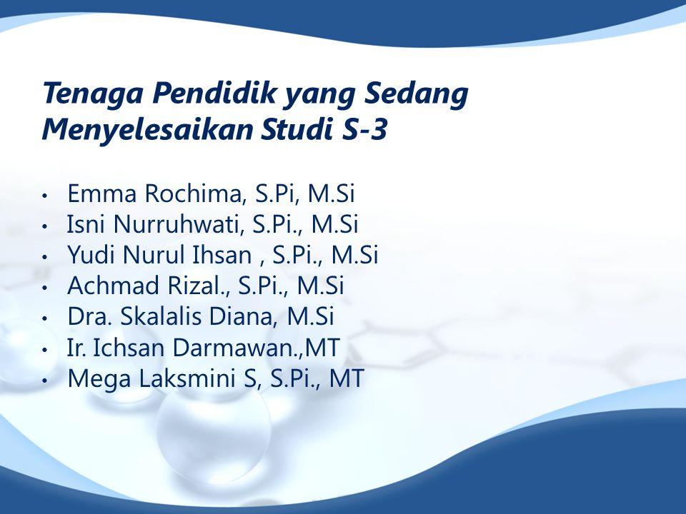 Tenaga Pendidik yang Sedang Menyelesaikan Studi S-3 Emma Rochima, S.Pi, M.Si Isni Nurruhwati, S.Pi., M.Si Yudi Nurul Ihsan, S.Pi., M.Si Achmad Rizal., S.Pi., M.Si Dra.