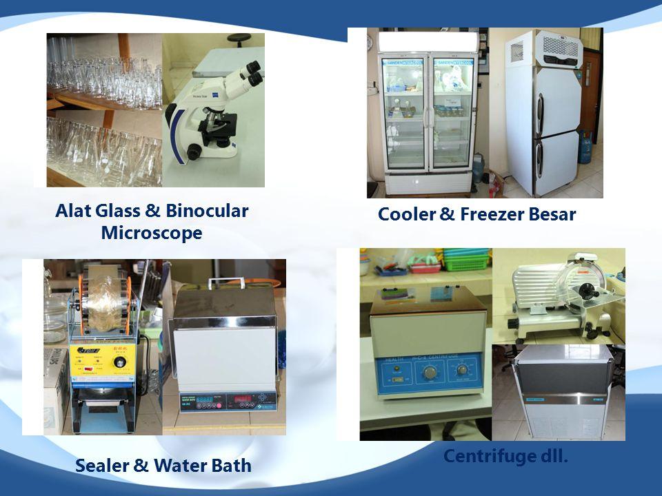 Alat Glass & Binocular Microscope Cooler & Freezer Besar Sealer & Water Bath Centrifuge dll.