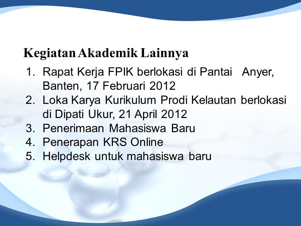Kegiatan Akademik Lainnya 1.Rapat Kerja FPIK berlokasi di Pantai Anyer, Banten, 17 Februari 2012 2.Loka Karya Kurikulum Prodi Kelautan berlokasi di Di