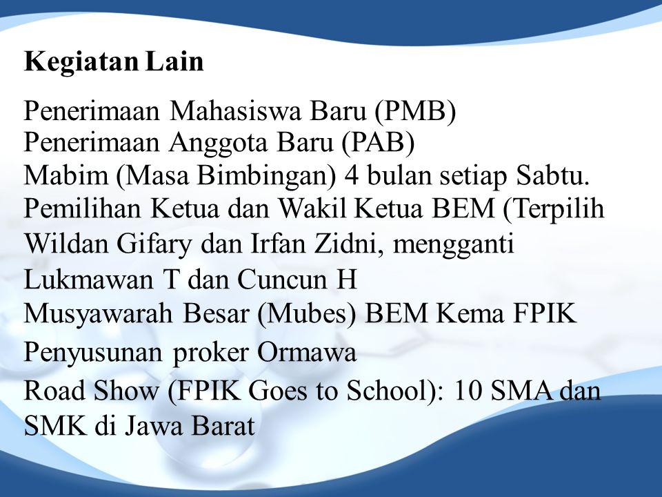 Kegiatan Lain Penerimaan Mahasiswa Baru (PMB) Pemilihan Ketua dan Wakil Ketua BEM (Terpilih Wildan Gifary dan Irfan Zidni, mengganti Lukmawan T dan Cuncun H Musyawarah Besar (Mubes) BEM Kema FPIK Penyusunan proker Ormawa Road Show (FPIK Goes to School): 10 SMA dan SMK di Jawa Barat Mabim (Masa Bimbingan) 4 bulan setiap Sabtu.