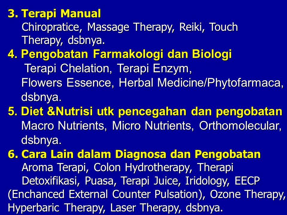 3. Terapi Manual Chiropratice, Massage Therapy, Reiki, Touch Therapy, dsbnya. Therapy, dsbnya. 4. Pengobatan Farmakologi dan Biologi Terapi Chelation,