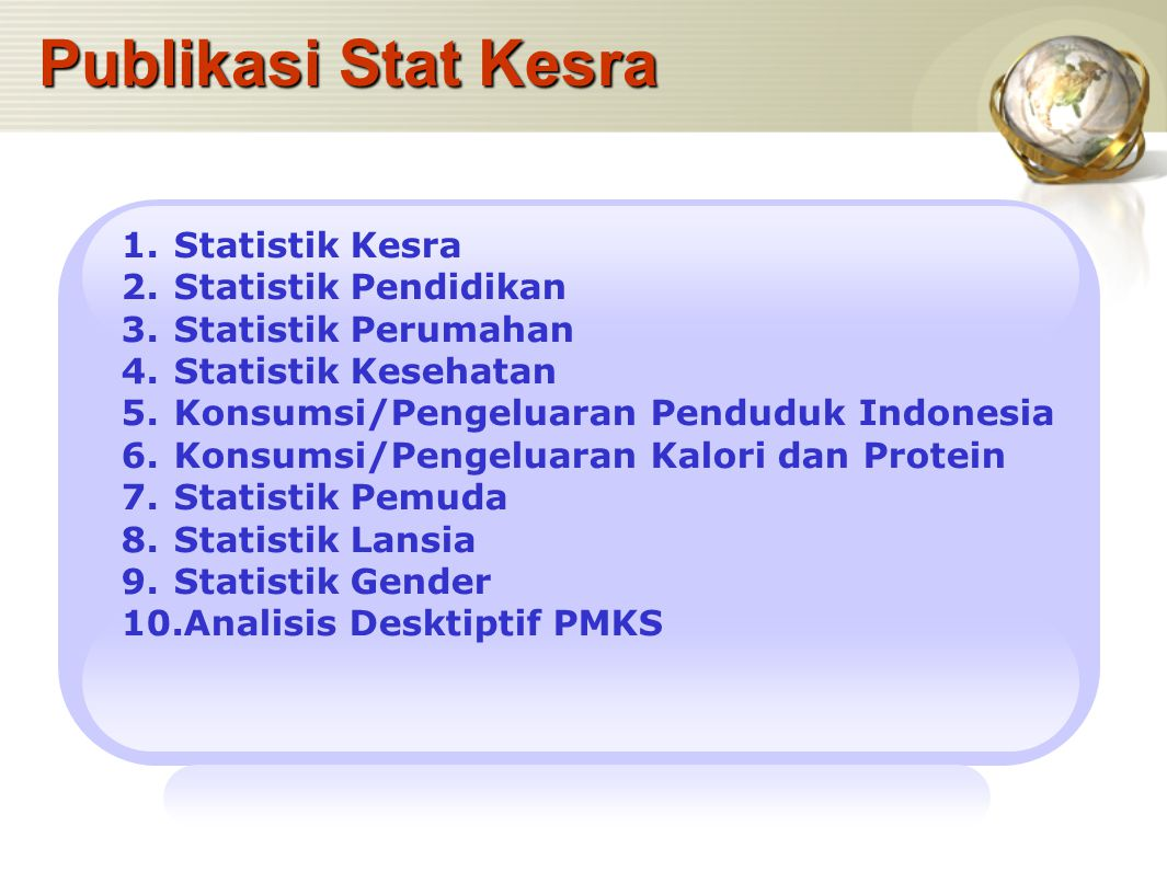 Publikasi Stat Kesra 1.Statistik Kesra 2.Statistik Pendidikan 3.Statistik Perumahan 4.Statistik Kesehatan 5.Konsumsi/Pengeluaran Penduduk Indonesia 6.