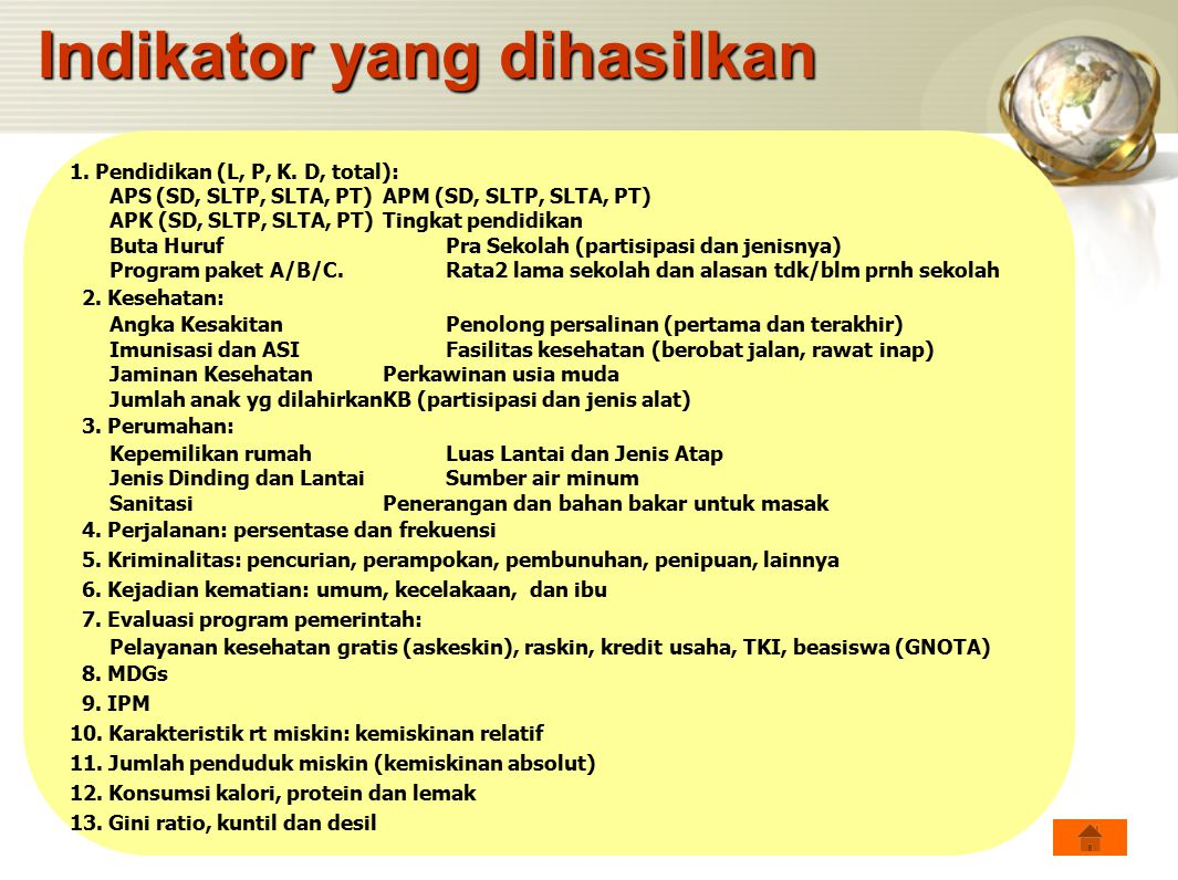 1. Pendidikan (L, P, K. D, total): APS (SD, SLTP, SLTA, PT)APM (SD, SLTP, SLTA, PT) APK (SD, SLTP, SLTA, PT)Tingkat pendidikan Buta Huruf Pra Sekolah