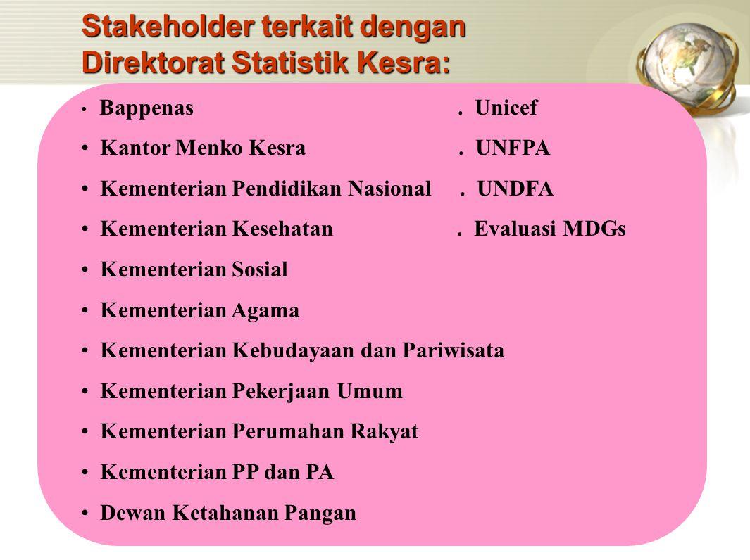 Stakeholder terkait dengan Direktorat Statistik Kesra: Bappenas. Unicef Kantor Menko Kesra. UNFPA Kementerian Pendidikan Nasional. UNDFA Kementerian K