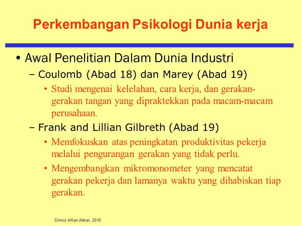 Dinnul Alfian Akbar, 2010 Perkembangan Psikologi Dunia kerja Awal Penelitian Dalam Dunia Industri –Coulomb (Abad 18) dan Marey (Abad 19) Studi mengena