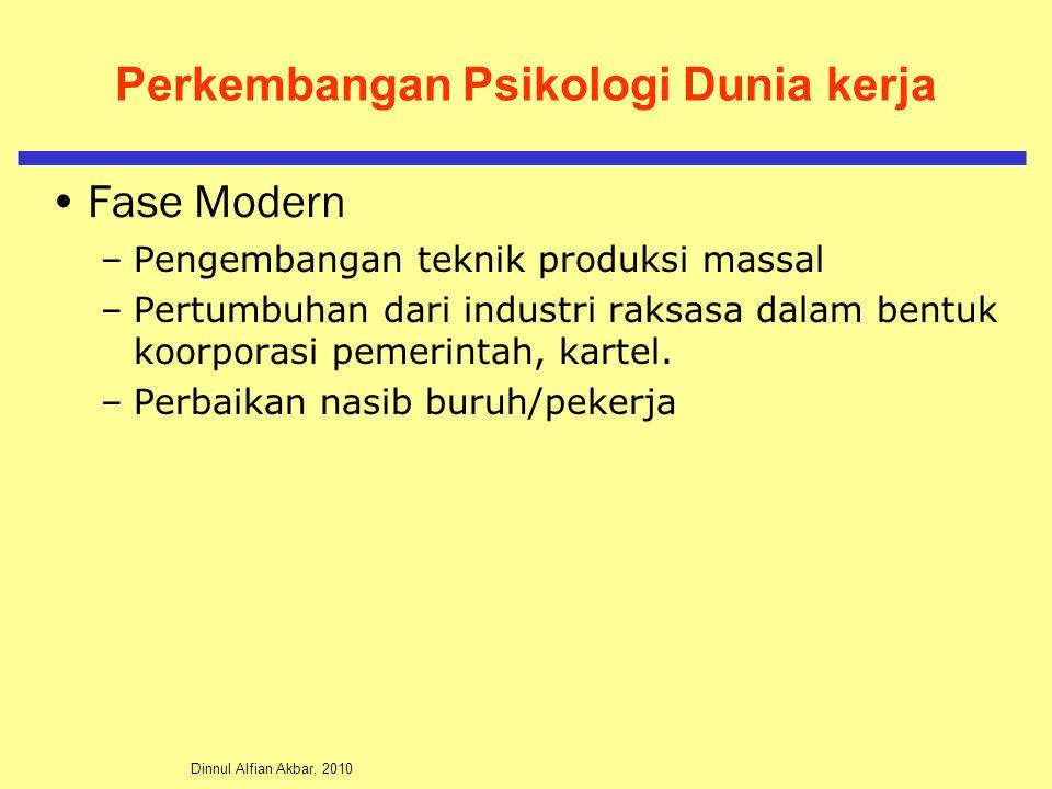 Dinnul Alfian Akbar, 2010 Perkembangan Psikologi Dunia kerja Fase Modern –Pengembangan teknik produksi massal –Pertumbuhan dari industri raksasa dalam bentuk koorporasi pemerintah, kartel.