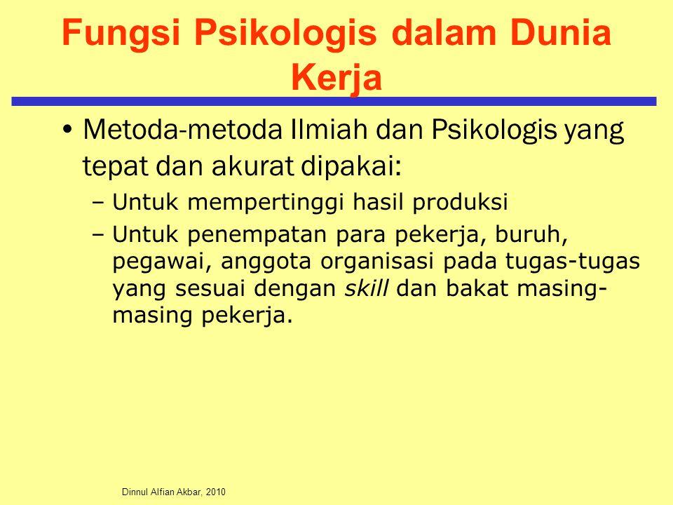 Dinnul Alfian Akbar, 2010 Fungsi Psikologis dalam Dunia Kerja Metoda-metoda Ilmiah dan Psikologis yang tepat dan akurat dipakai: –Untuk mempertinggi h