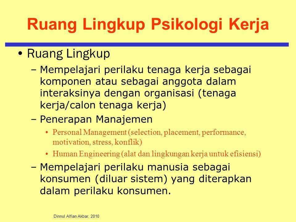 Dinnul Alfian Akbar, 2010 Ruang Lingkup Psikologi Kerja Ruang Lingkup –Mempelajari perilaku tenaga kerja sebagai komponen atau sebagai anggota dalam i